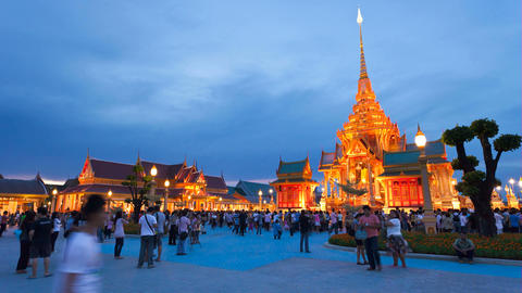 Timelapse - Bangkok Temple at Sunset Stock Video Footage