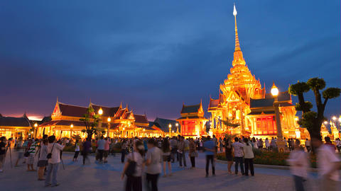 Timelapse - Bangkok Temple at Sunset Stock Video Footage