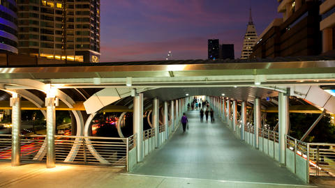 Timelapse - Pedestrians in Skytrain walkway Stock Video Footage