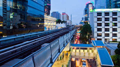 Timelapse - Bangkok Aerial Metro (BTS) at Night Stock Video Footage