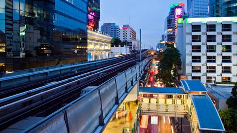 Timelapse - Bangkok Aerial Metro (BTS) at Night Footage