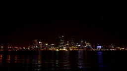 Perth City from across the Swan River at Night Footage