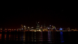 Perth City from across the Swan River at Night Stock Video Footage
