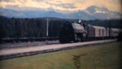 Family Takes Train To Banff Alberta 1958 Vintage 8mm film Stock Video Footage
