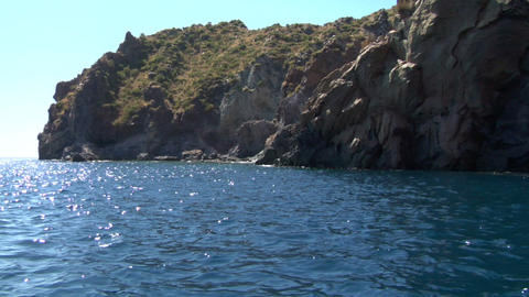 eolian island coast 05 Stock Video Footage