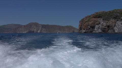 eolian island sea wake 01 Stock Video Footage