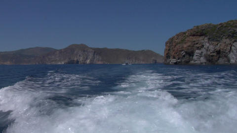 eolian island sea wake 01 Stock Video Footage