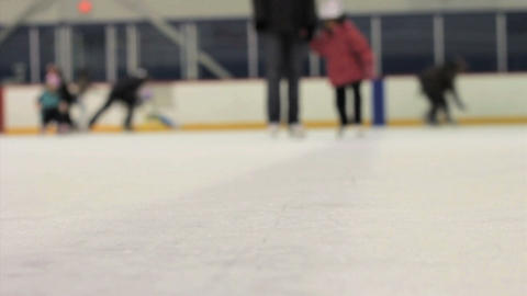 Girl Learning How To Ice Skate Stock Video Footage