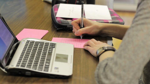 Girls Writing Thank You Cards Stock Video Footage
