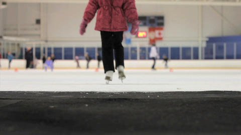Girl Walks Onto The Ice At The Skating Rink Stock Video Footage