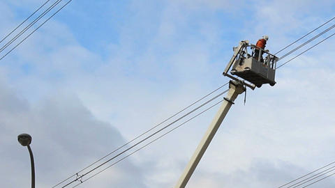 Hydro Worker Stuck In Bucket On Job Site Stock Video Footage