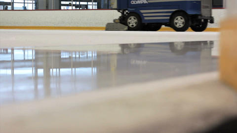 Ice Cleaning Machine Cleans The Rink Footage