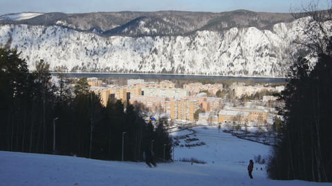 Ski Resort Divnogorsk 01 Stock Video Footage