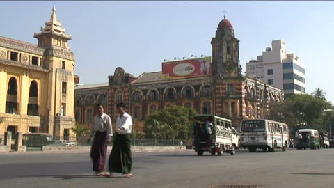 Traffic at postoffice, Yangon, Myanmar Stock Video Footage