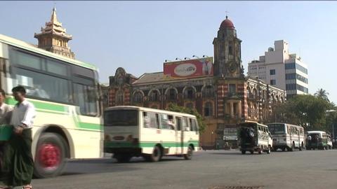 Traffic at postoffice, Yangon, Myanmar Footage