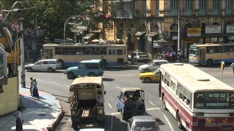 Traffic at Sule pagoda, Yangon Footage