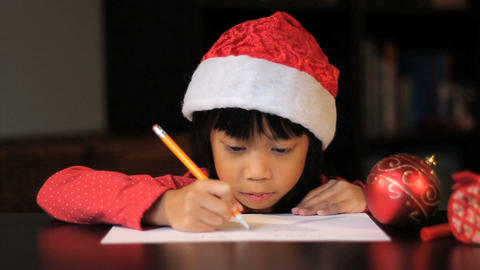 Excited Six Year Old Girl Writing Santa Claus Stock Video Footage