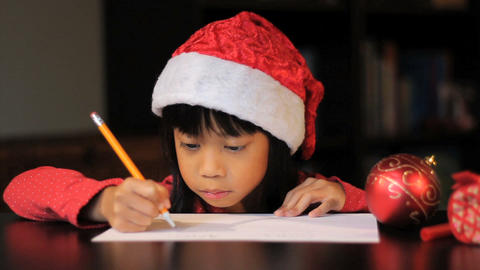Excited Six Year Old Girl Writing Santa Claus Footage
