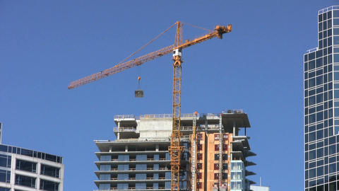 Downtown Construction Crane stock footage