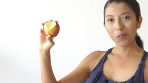 Biting into an apple Footage