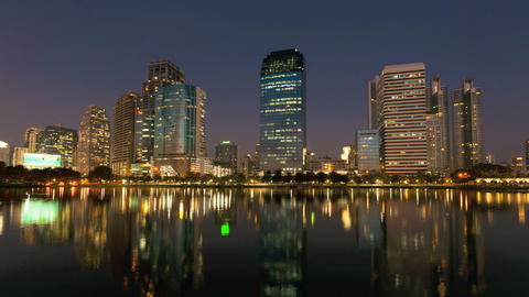 Timelapse - Bangkok City Skyline at Sunset Stock Video Footage