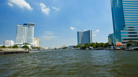 Timelapse - View from Taxi Boat on Chao Phraya river in... Stock Video Footage