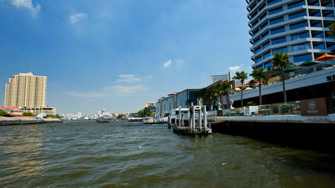 Timelapse - View From Taxi Boat On Chao Phraya River In Bangkok, Thailand stock footage