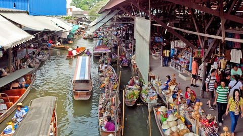 Timelapse - Floating Market in Thailand Footage