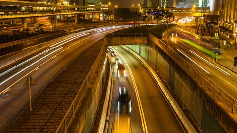 4K Traffic in Hong Kong at Night Stock Video Footage