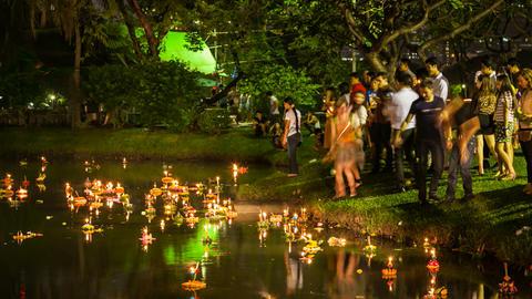 Timelapse of Loy Krathong festival, Bangkok Stock Video Footage