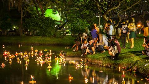 Timelapse of Loy Krathong festival, Bangkok Footage