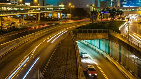 4K Traffic in Hong Kong at Night Footage