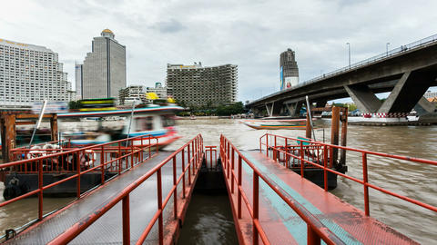 Taxi Boats on Bangkok Chaophraya River Stock Video Footage