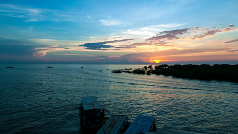 Timelapse of boats on Tonle Sap lake, Siem Reap, Angkor,... Stock Video Footage