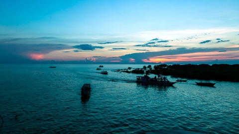 Timelapse of boats on Tonle Sap lake, Siem Reap, Angkor,... Stock Video Footage