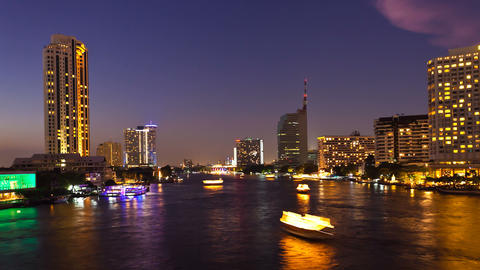 Bangkok Skyline from Saphan Taksin Bridge over Chaophraya... Stock Video Footage