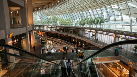 Timelapse - walking down the mall escalators Stock Video Footage