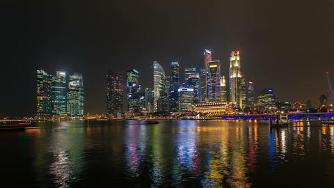 Timelapse - Singapore Marina Bay City Skyline Stock Video Footage