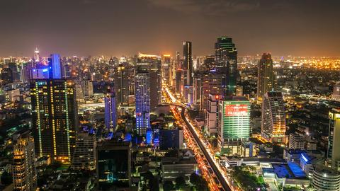 Timelapse - Bangkok City Skyline at night Footage