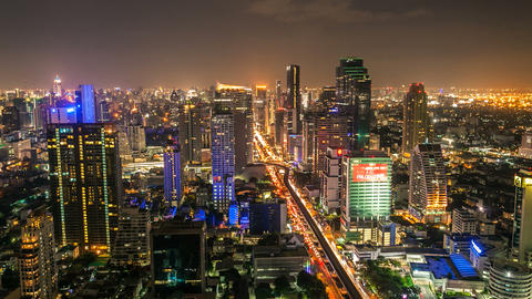 Timelapse - Bangkok City Skyline at night Stock Video Footage