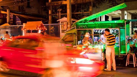 Time lapse Bangkok Street Bar in Soi 11, Thailand Stock Video Footage