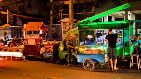 Time lapse Bangkok Street Bar in Soi 11, Thailand Stock Video Footage