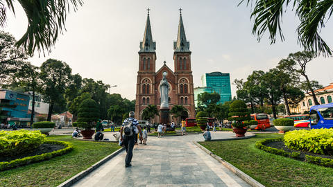 4K Timelapse of Saigon Notre-Dame Basilica - Cathedral Footage