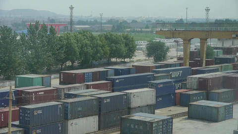 Filled container terminal factory Stock Video Footage
