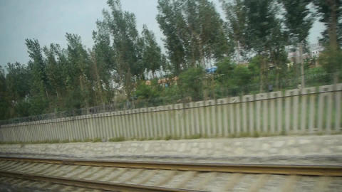 Speeding train travel in rural countryside,Dense forest scenery outside window.t Footage