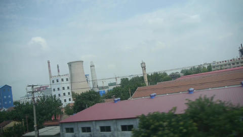 Oil tank chemical plants in rural countryside.Speeding... Stock Video Footage