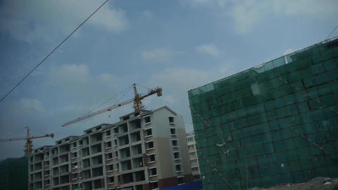 Real estate construction site.Altocumulus cloud in blue... Stock Video Footage