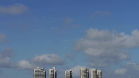 Movement of clouds in sky,building high-rise at urban city Stock Video Footage
