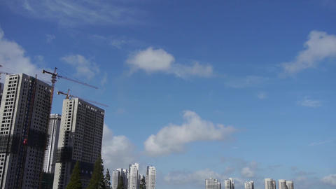 Movement of altocumulus clouds in sky,building high-rise... Stock Video Footage