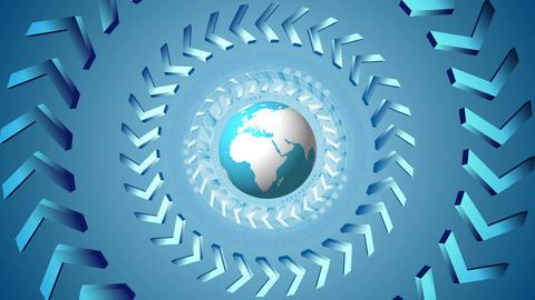 Bright tech arrows and globe rotation design Animation